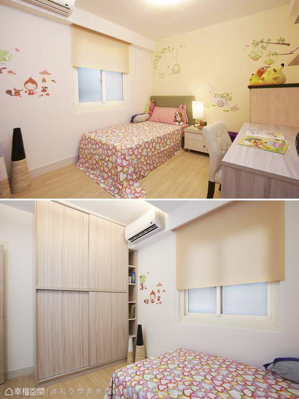女孩房規劃了上下雙層的吊衣櫃空間,並利用樑下空間作為書架位置,有效提升空間坪效。