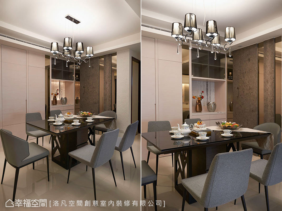 餐邊櫃底部淺色水晶石帶來條紋造型,與咖啡色石牆呈現對比色彩;藉由茶鏡和木皮形成連續性設計立面,淡化鞋櫃、儲物間等機能。
