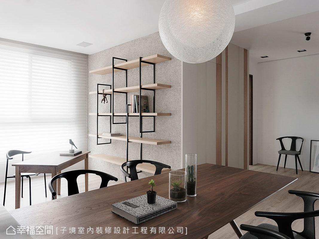 子境室內裝修設計工程有限公司帶入多樣原始素材,讓無多餘裝飾的立面增加層次,締造豐富的生活表情。