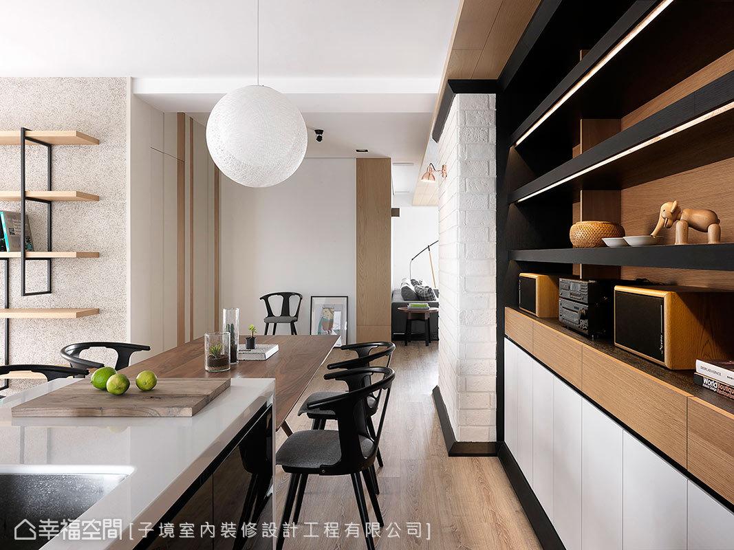 運用白色文化石堆砌粗獷的氛圍,搭配黑色和米色木皮,形成讓人印象深刻的風格。