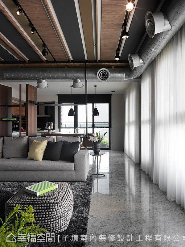 採異材質拼貼搭佐軌道燈投射妝點天花,將工業風代表元素完美結合,打造獨樹一幟的居家設計。