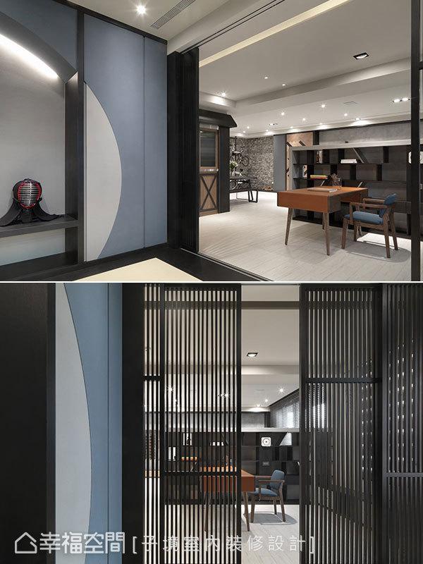 運用格柵作為和室門扉,保持與公領域的視覺通透感又能兼顧私領域的隱密性,個性又優雅地串連書房與和室這兩處空間的調性。