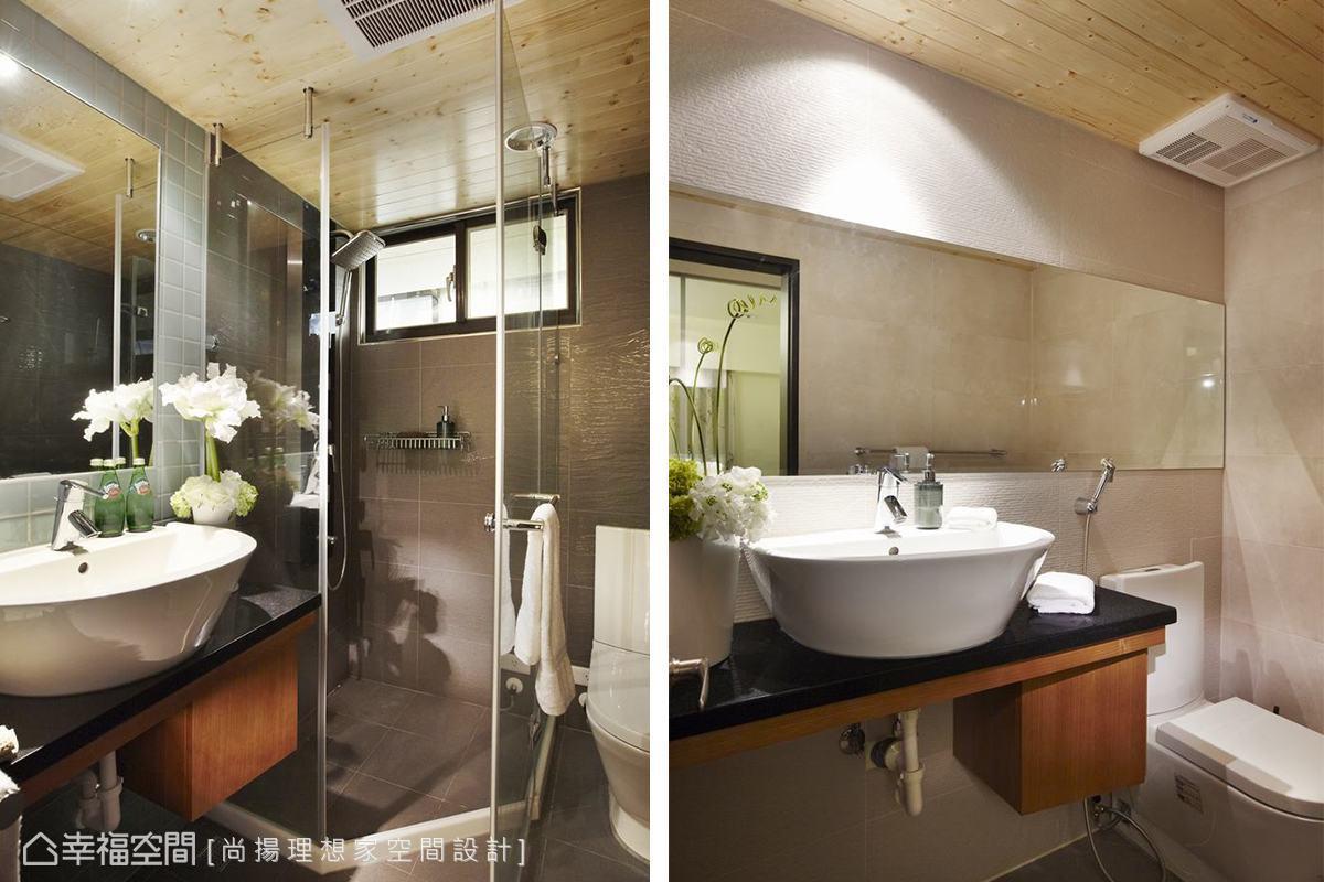 衛浴內美杉木為材的天花鋪排,營造了露天風呂的輕鬆,洗臉檯下刻意內斜的櫃體設計貼心屋主坐著盥洗的習慣。