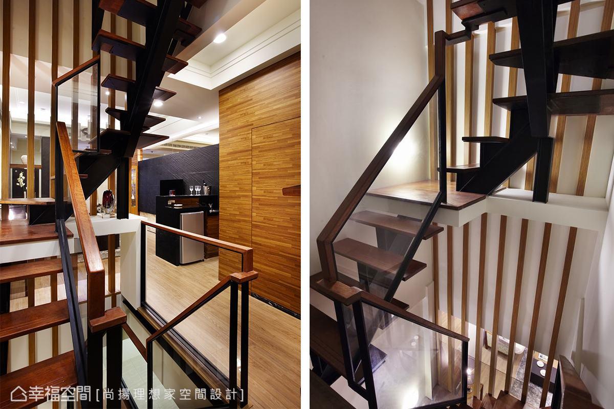 室內樓梯的格柵向上延伸,成為串連五層樓的造型;而良好的穿透感,跳脫一般樓梯間陰暗的印象,看起來明亮輕盈。