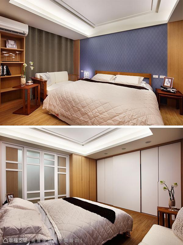 床尾的立面,藏入衣櫃、影音牆等機能需求。