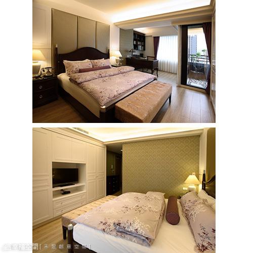帶有美式風格的主臥空間,白色烤漆的家私,強化著空間意象