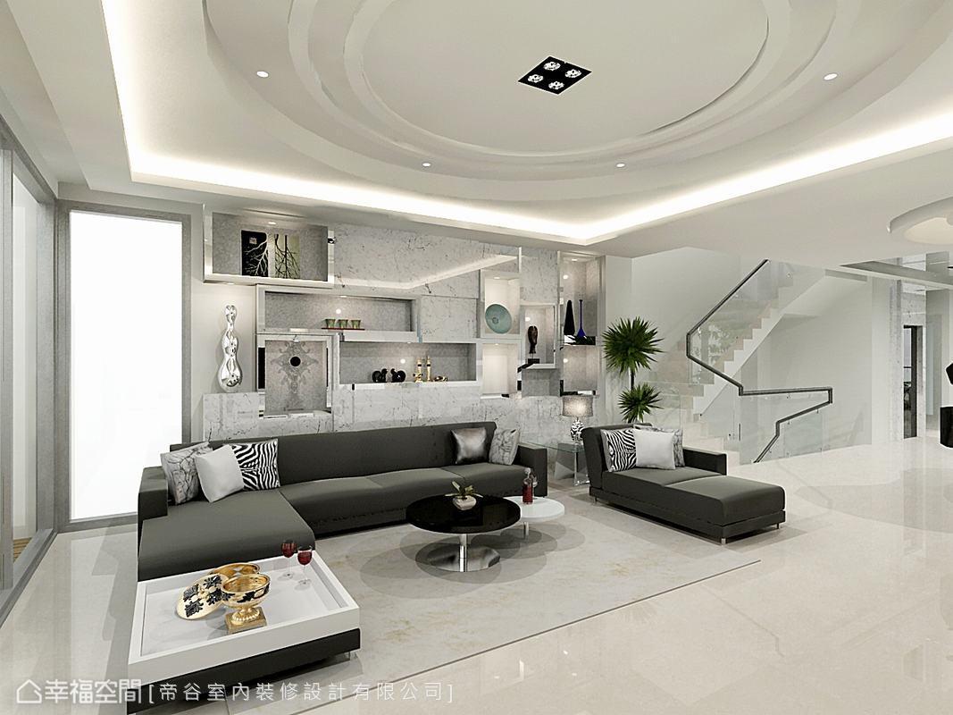 卡拉拉白大理石搭配不鏽鋼展示櫃,展現冷冽的時尚美感。(此為3D合成示意圖)