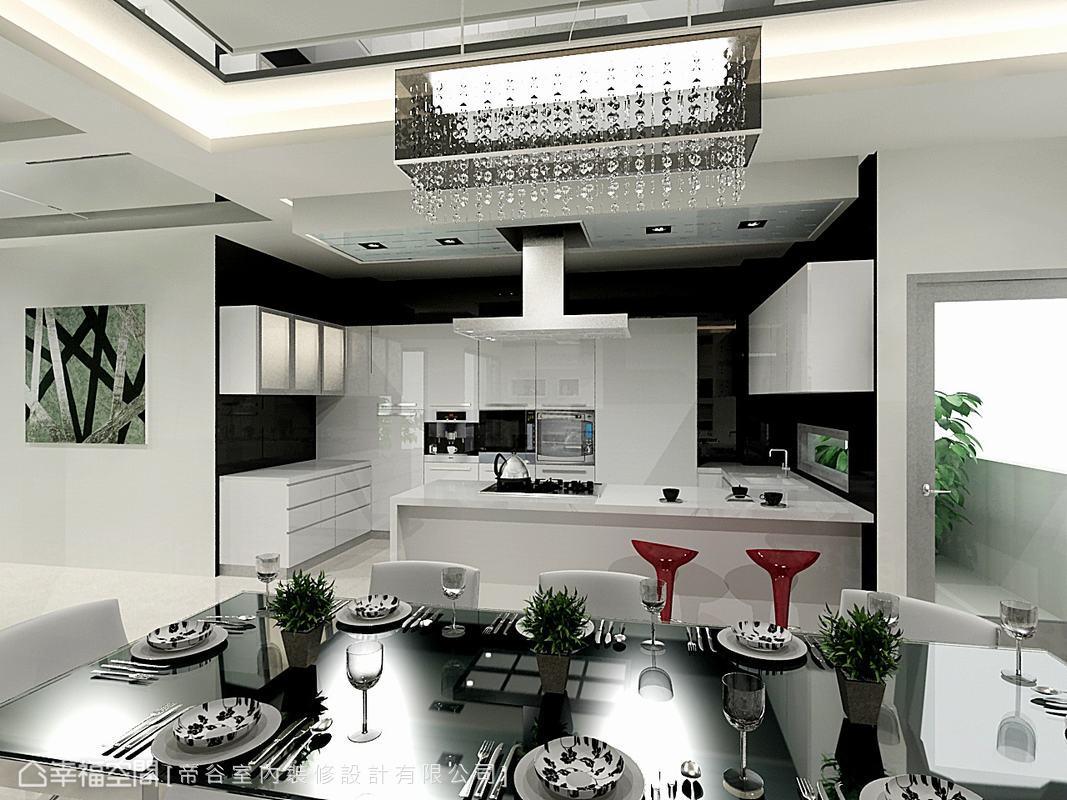 將爐具移置中央位置,料理時就像在表演般可以和家人維持互動,西式開放式動線用餐氣氛更融洽。(此為3D合成示意圖)