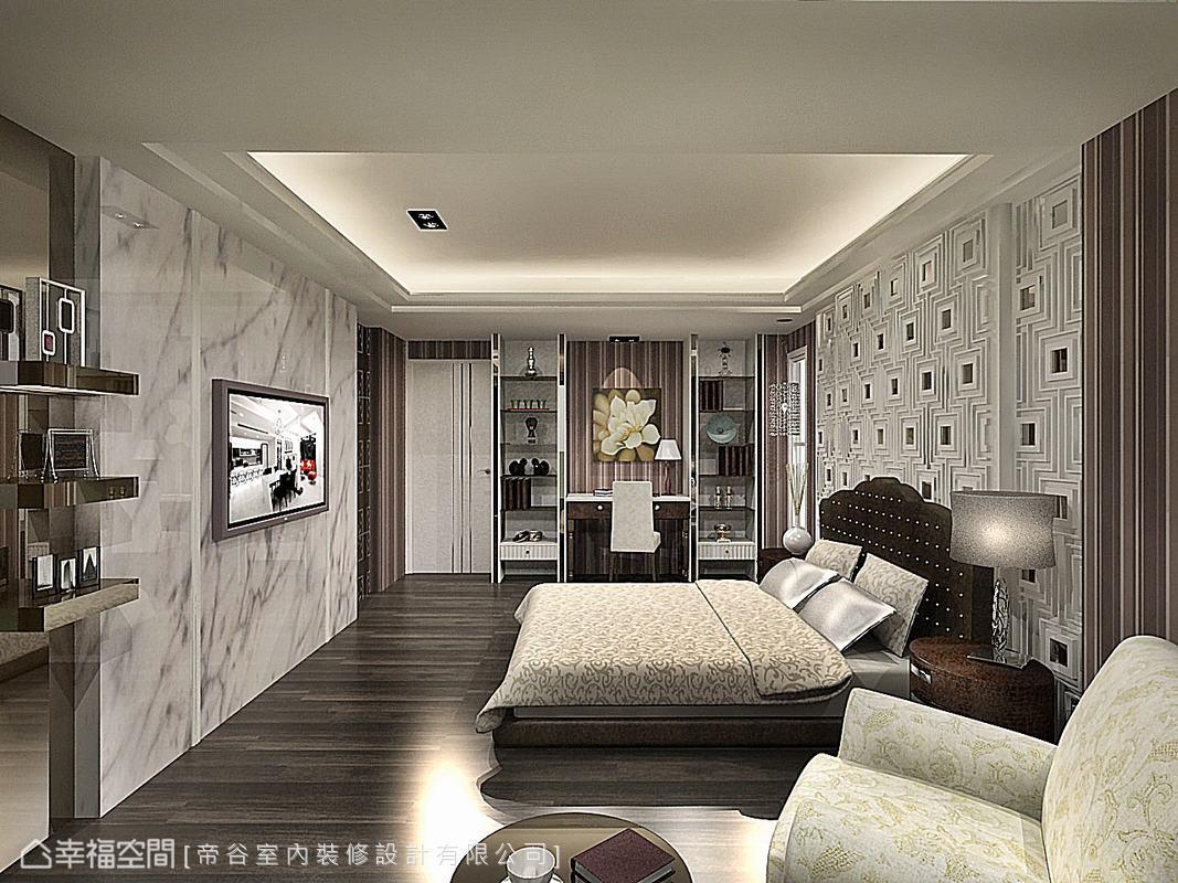避免白色以及大理石感覺太過冷冽,故在壁面壁紙及烤玻部分大量的加入棕色暖化空間。(此為3D合成示意圖)
