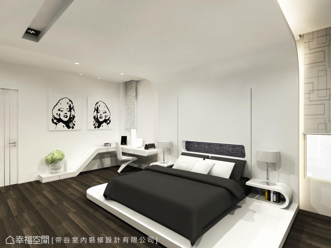 以架高的床架取代傳統床組,營造低檯度和式的休閒氛圍。(此為3D合成示意圖)