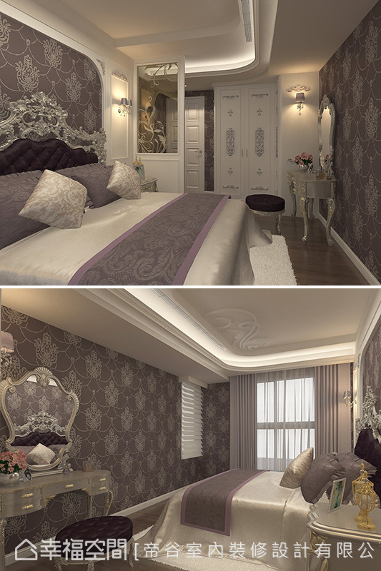 經由床頭座向的調整,以及入門隔屏的增設,完美修飾狹長空間。