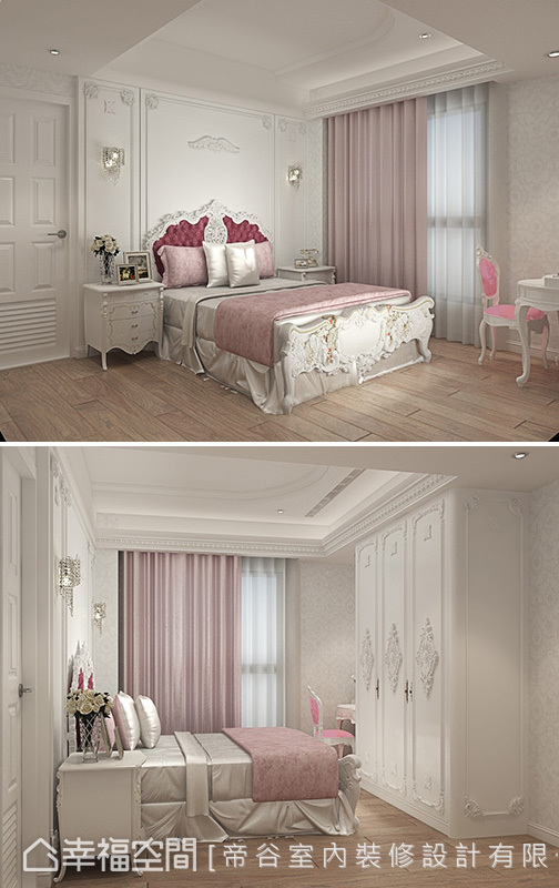 粉紅色調的小女孩房以天使翅膀為主題,鋪陳天真浪漫氛圍。