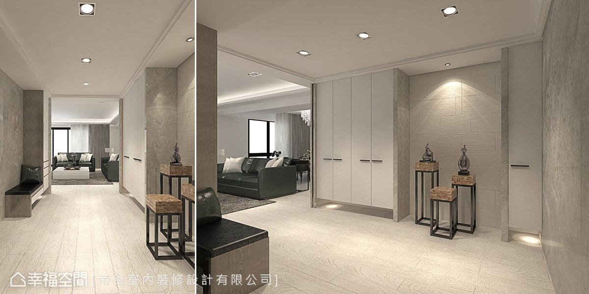 帝谷設計於鞋櫃中間的留白牆面安排健康磚,維持入門場域的清新潔淨感。