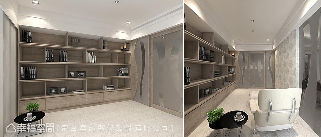 書房中採用零甲醛系統板材規劃書櫃,並加大層板厚度,增加支撐力。