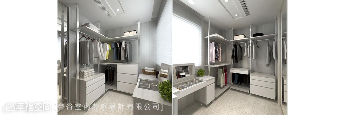 以機能出發的更衣室空間,從牆面到層板,皆採易清潔好保養的健康系統板材規劃。