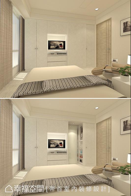 橫推與電視櫃一體成形規劃的門片,後方可通往衛浴空間。