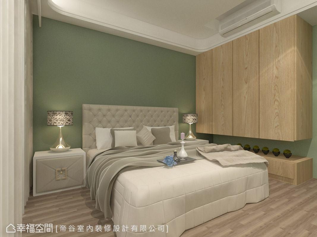 位於一樓的客房,以大地意象為主題,透過木質元素與清新草綠色,圍塑自然舒適的空間情境。