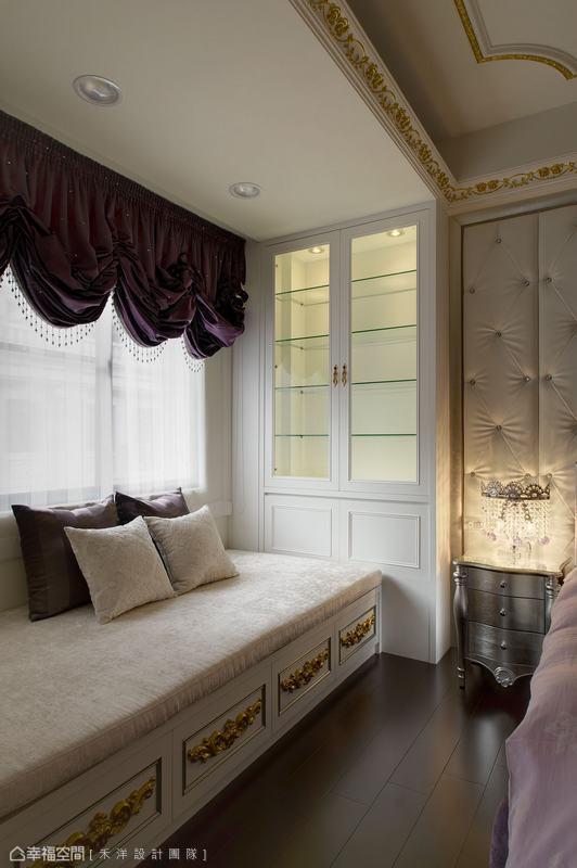窗邊臥禢增加一方小憩觀景的小天地,滿足少女夢幻的浪漫情懷。