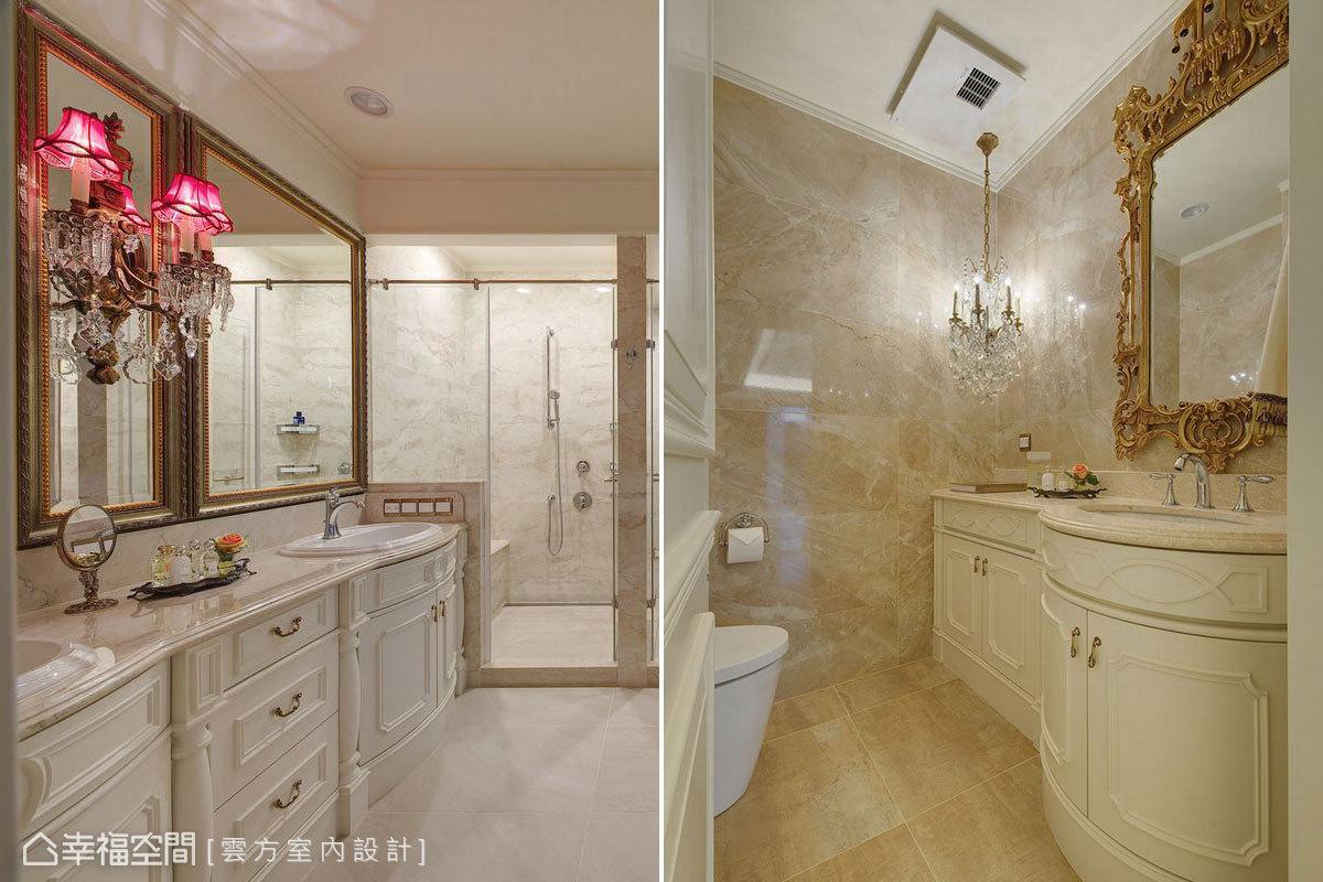 主衛浴與客浴皆延續整體藝術質地,以雕花磁磚構築浴室空間,搭配古典鏡框與收納格櫃堆砌古典歐風。