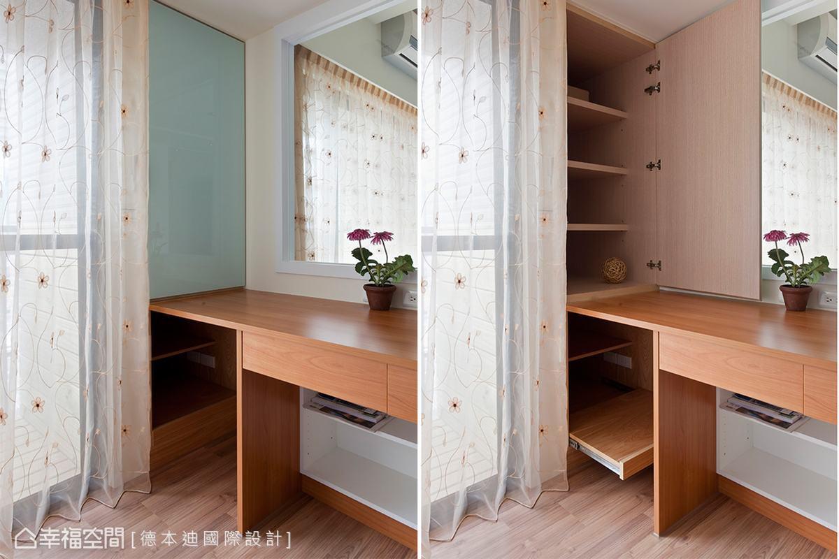 建築先天條件外推陽台空間,利用100公分的深度,補強書房的收納量。