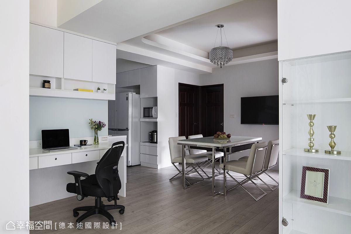 透過開放式餐廳、書房、廚房編排,可加大視覺上的尺度。