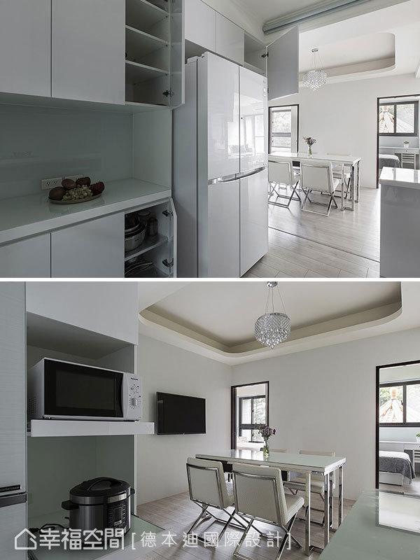 整排的電器櫃、冰箱櫃、餐櫃,大大滿足喜愛下廚的女主人需求,創造滿分的廚房空間。