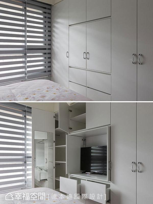 電視牆與衣櫃、收納櫃結合,大大提升臥室的機能性。