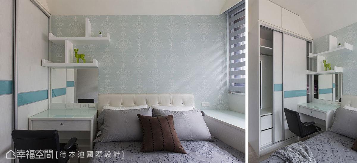 推門式的衣櫃可維持臥房的尺度,而裡頭可收拉的鏡面也是一項貼心設計。
