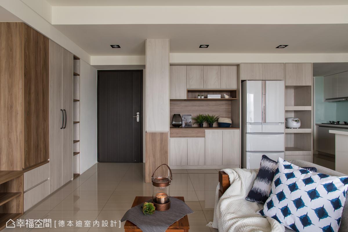 保留牆面圍塑專屬空間,將玄關作為室內外的分界點,屋主得以在此處卸下外頭的疲憊,走進溫暖的家。