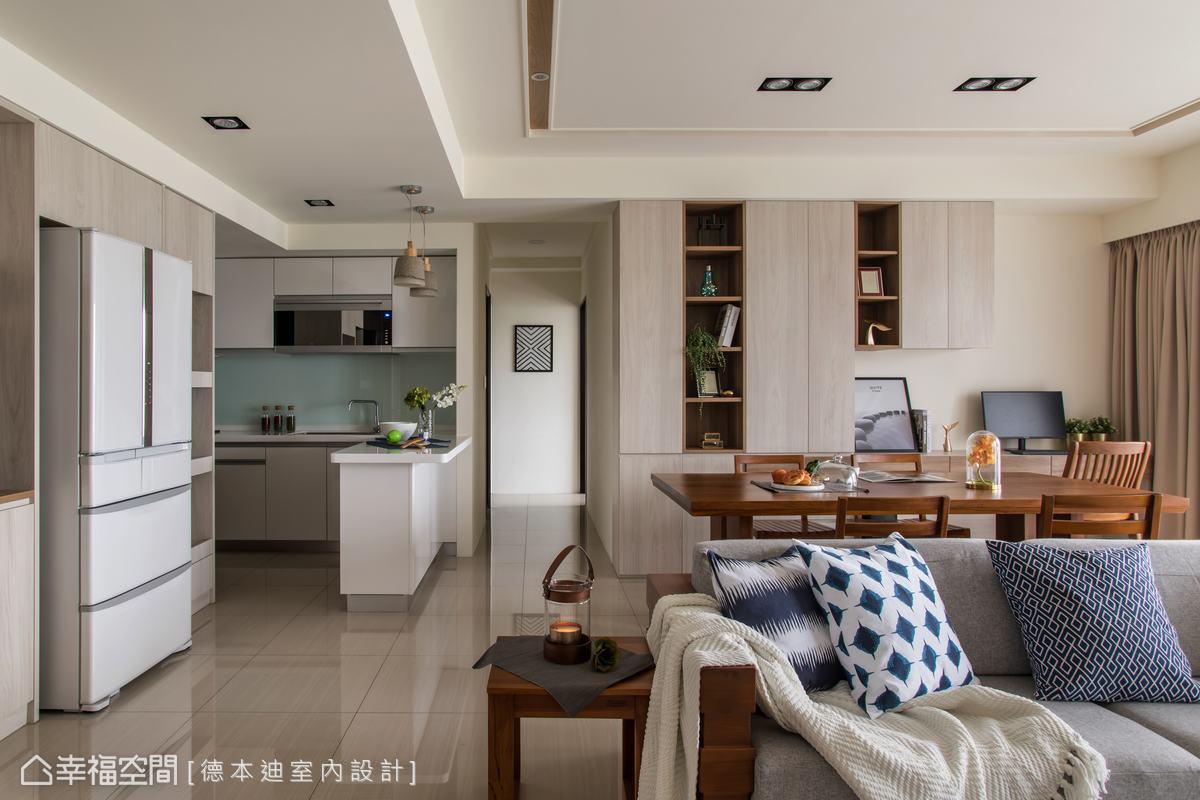 以開放式設計串連客餐廳、廚房等空間,成為家人一同下廚、分享生活的重要互動公共場域。