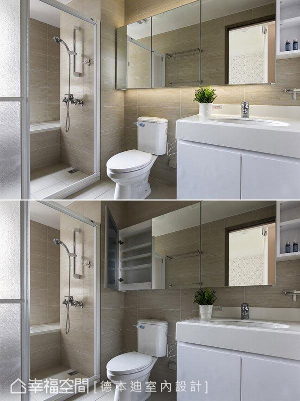 宋雯鈴設計師以鏡面收納櫃延續屋主的收納需求,更拓展浴室空間深度,間接照明也營造如飯店般的高雅質感。