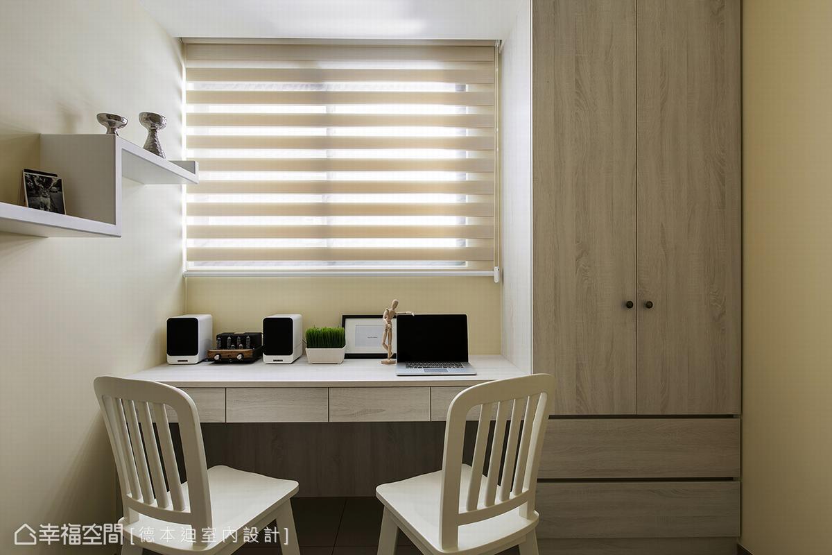此間臥房以柔黃為主題色彩,營造溫暖氣息,木皮衣櫃也顯出自然氛圍,讓使用者更為放鬆。