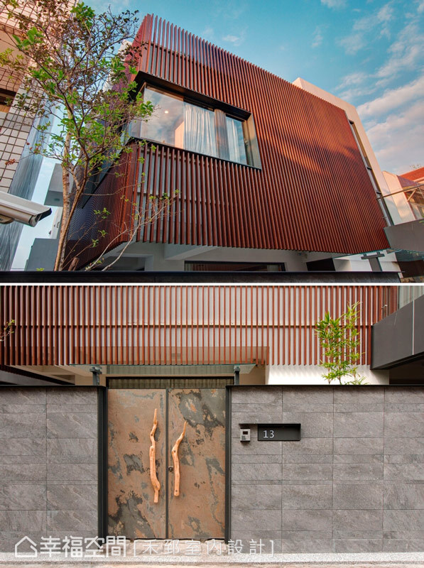 建築外觀,以格柵造型圍塑出現代感的日式語彙,並以薄石板材作為外牆的設計質材。