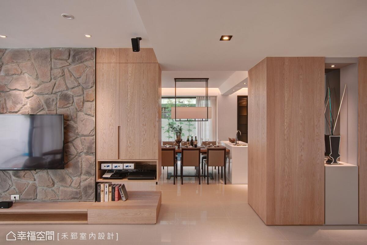 乾淨的線面處理,搭配自然的材質堆砌,淬鍊出溫婉舒適的空間概念。