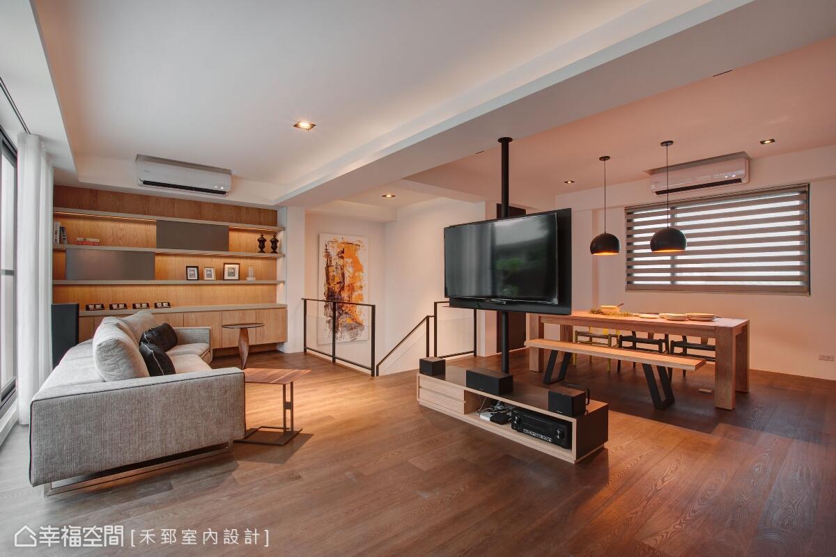 三樓空間是屬於放鬆與交流情誼的場域,可做360度旋轉的電視可以依照居者的觀看位置調整。