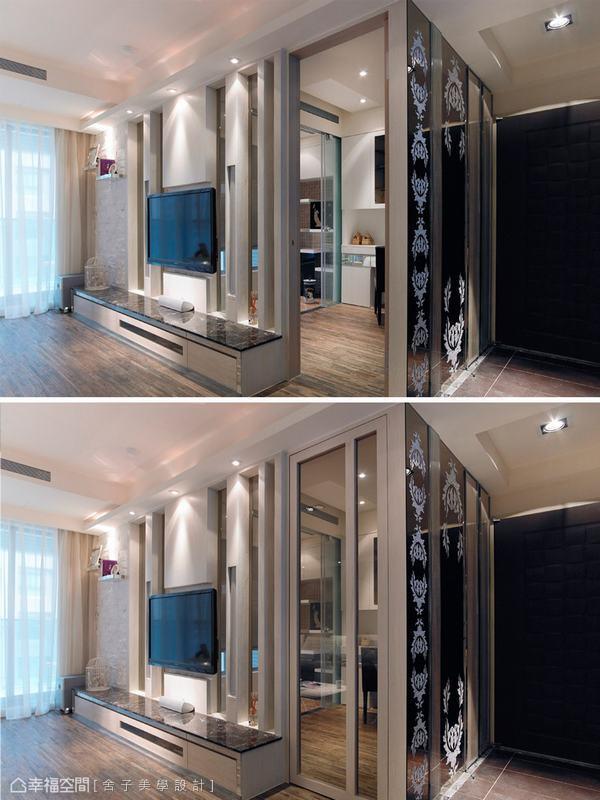 電視牆後方是書房空間,設計師以玻璃門片輔以粗細不一木條作分隔,同時成為電視主牆面,靠近落地窗旁的版岩壁面設計,則是詹秉縈設計師精心傑作,粗糙介面加上金屬層板,層次感豐富,