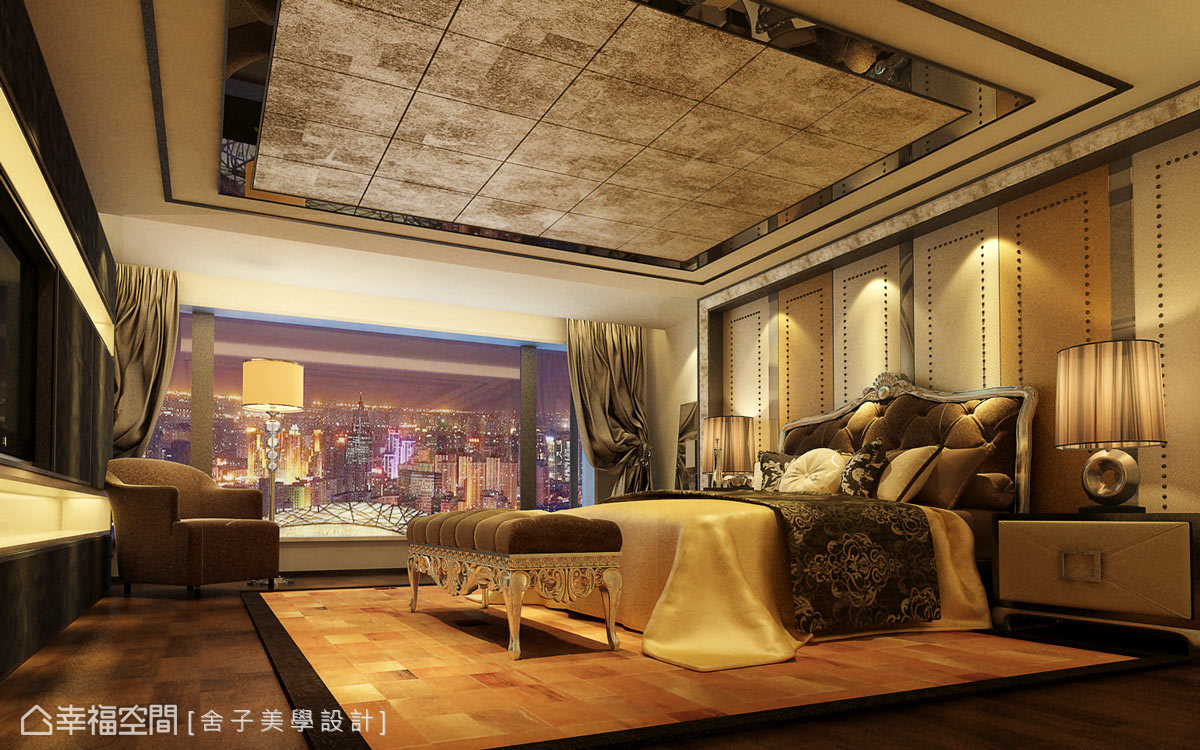 進入主臥室,細膩刻劃精湛品味,床頭牆面採用切割的繃皮綴以飾件,展現低調奢華的美學。