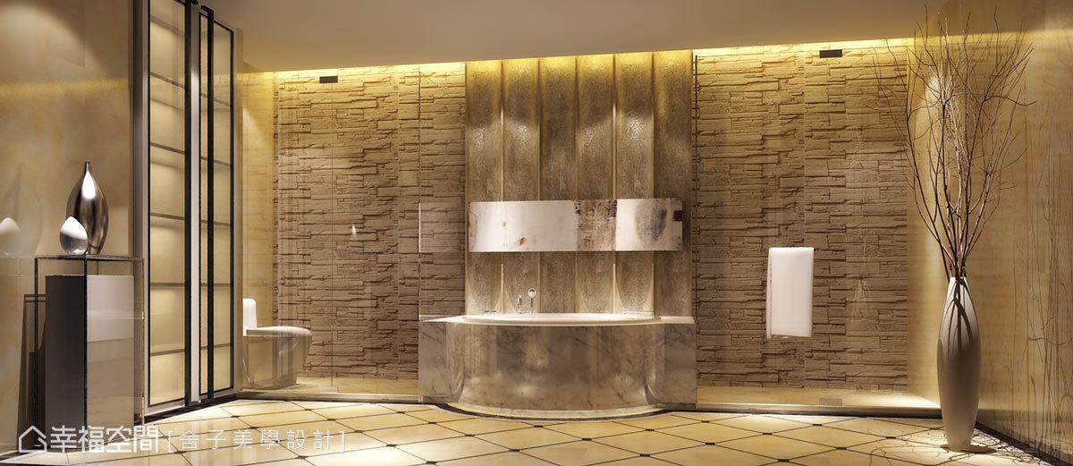 衛浴空間使用沉穩的大理石及自然鑿面的石材來表現,創造優質而機能性的場域。