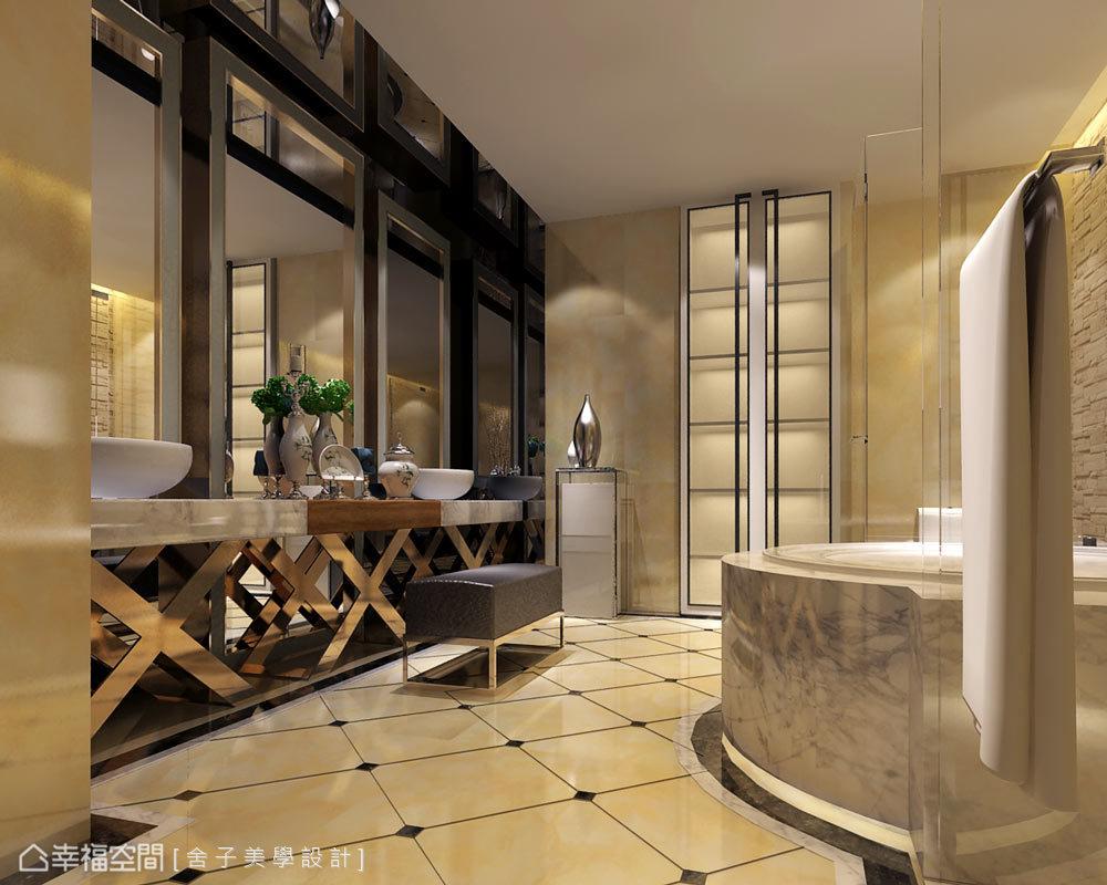 空間中特別設置兩座洗臉槽,滿足男女屋主使用上的需求,其帶有閃爍質感的鏤空支架,則蘊涵深深韻味。