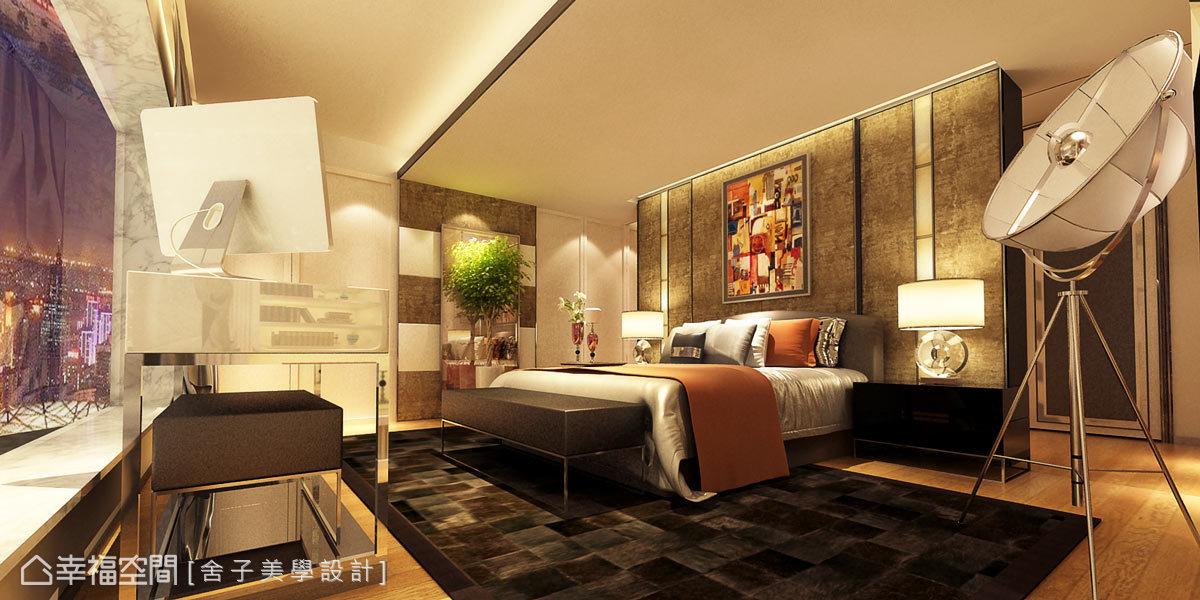 臥房燈具選購現代感造型、質地華美的立燈,儼然成為空間的焦點;地坪則鋪設實木地板,為場域增添溫潤質感。