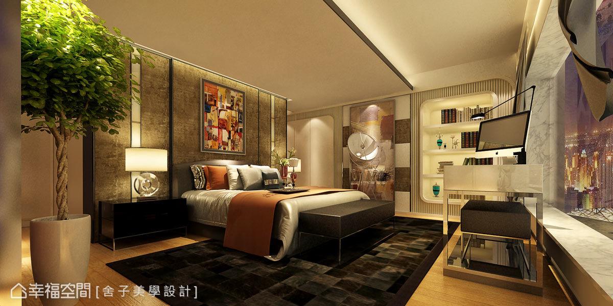 在臥房的設計上,以中式典雅魅力融入西方現代元素,呈現高貴不凡的氣韻。