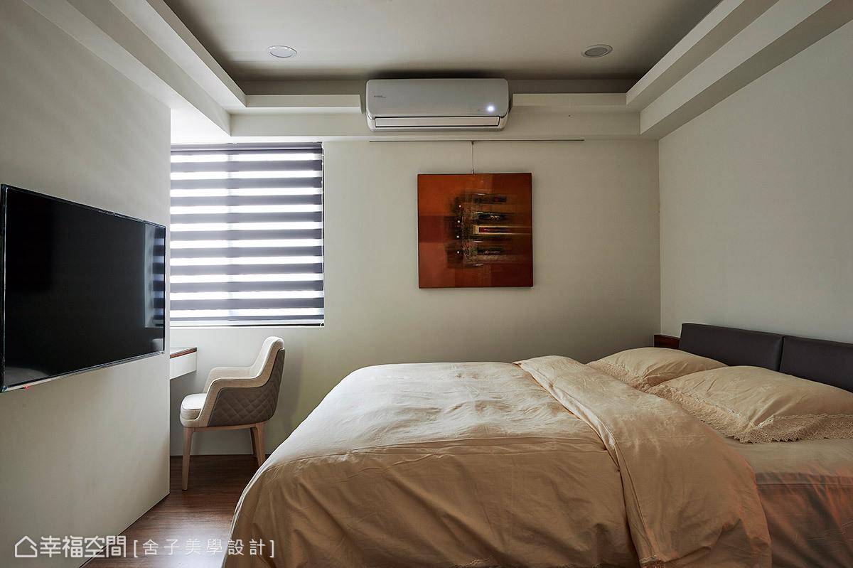 以寧靜氛圍的前提下,藉由簡約的質材安排,鋪敘寧靜的休憩氛圍。