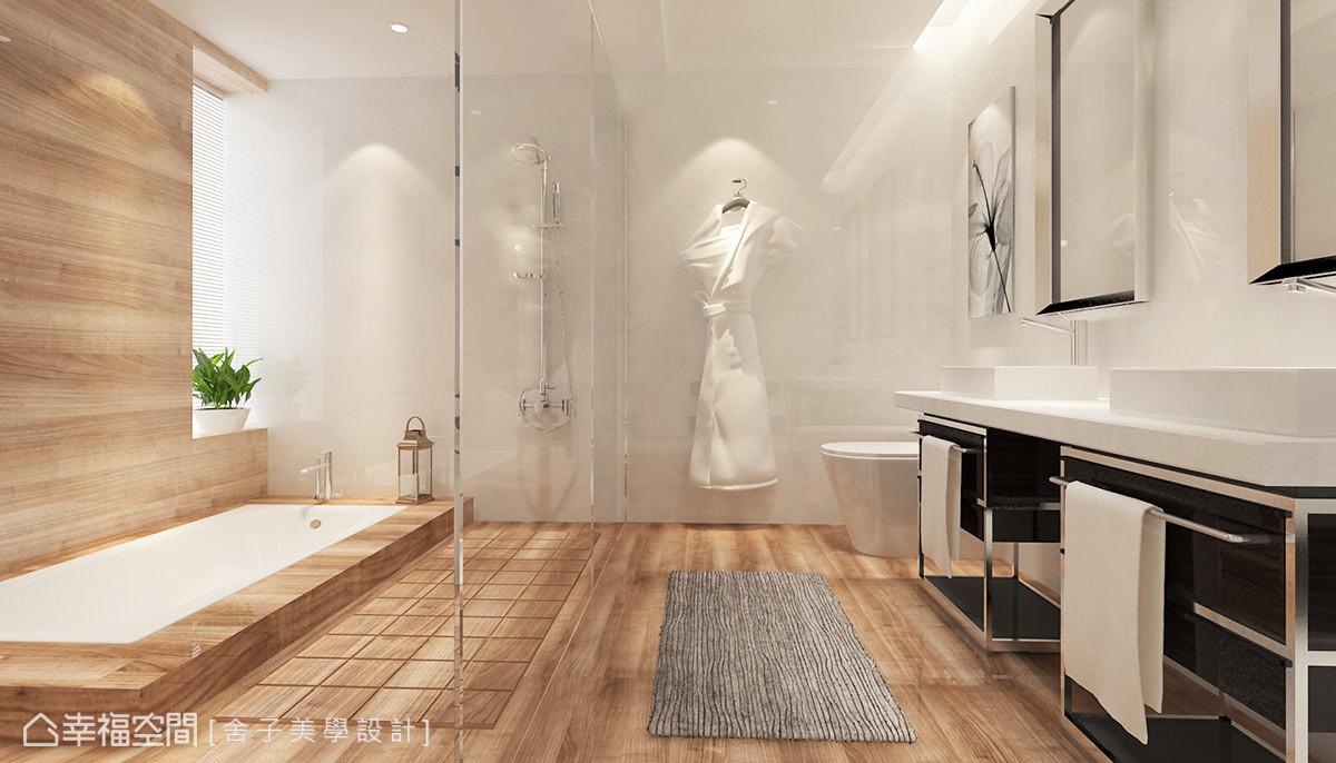 以木紋磚鋪述衛浴空間,堆砌出溫暖鮮明的氣息;雙臉盆的設置更符合男女屋主的生活需求。
