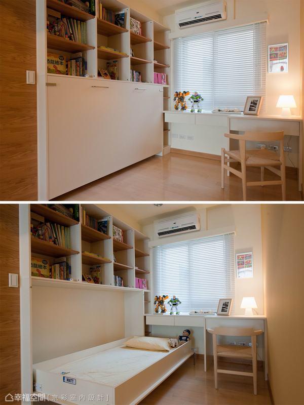 下掀式的收納床,輕鬆切換和室與小孩房使用機能。