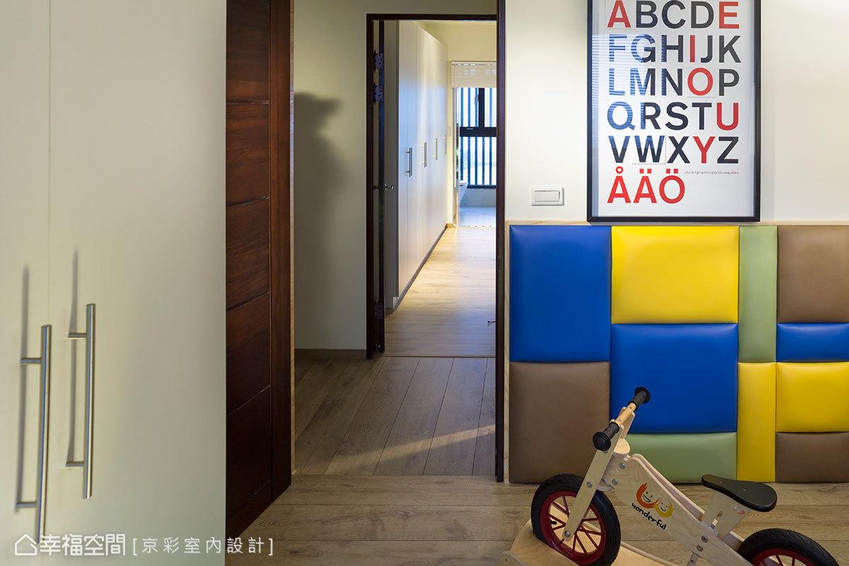 男孩房的設計,以鮮明的色彩和豐富創意為主題。