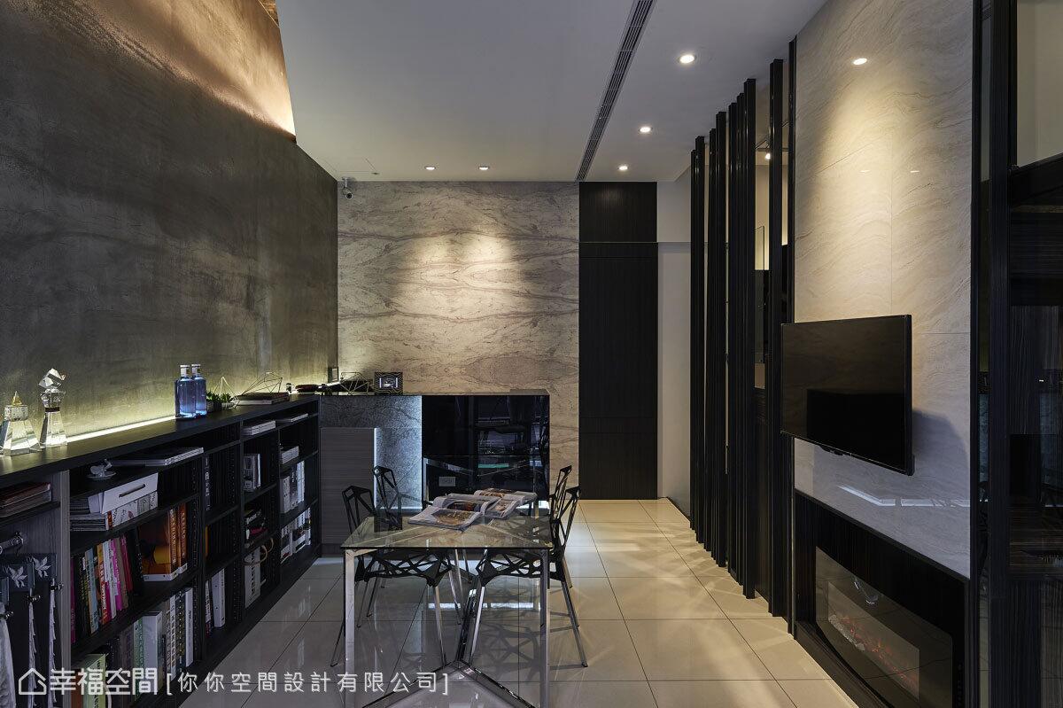 大膽運用多媒材的結合手法,呈現商業空間的大器沉穩外,也為顧客提供最佳的設計參考範例。