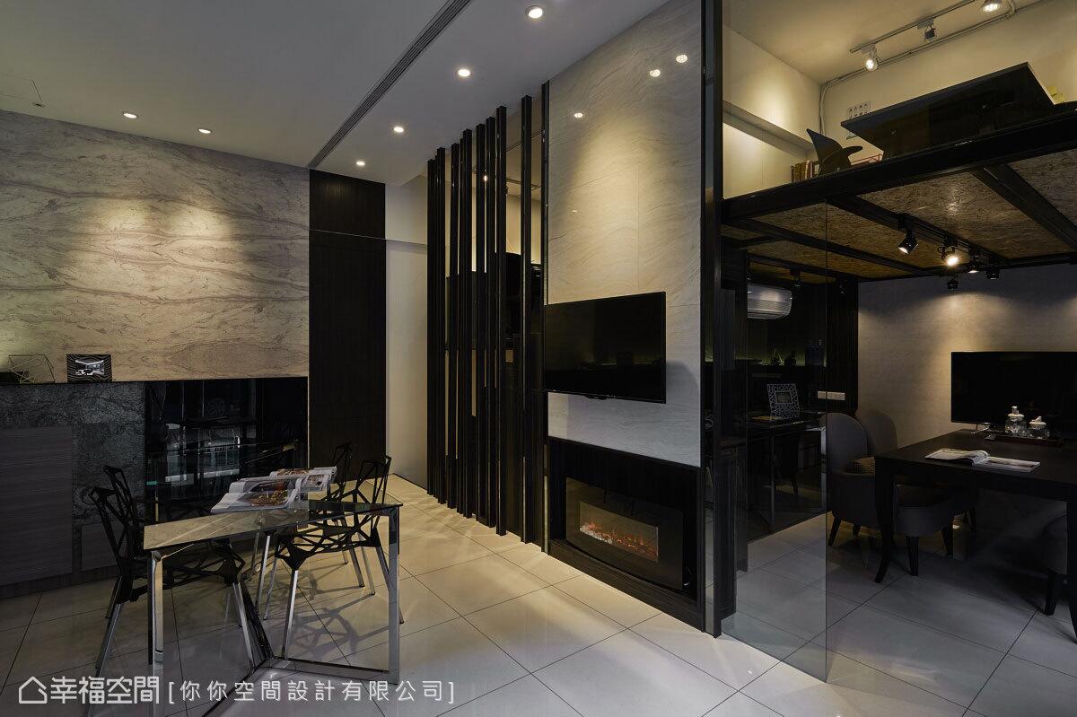 在原先無施作牆面的空間內,設計師林妤如善用挑高4米的條件優勢,創造錯層的視覺效果。