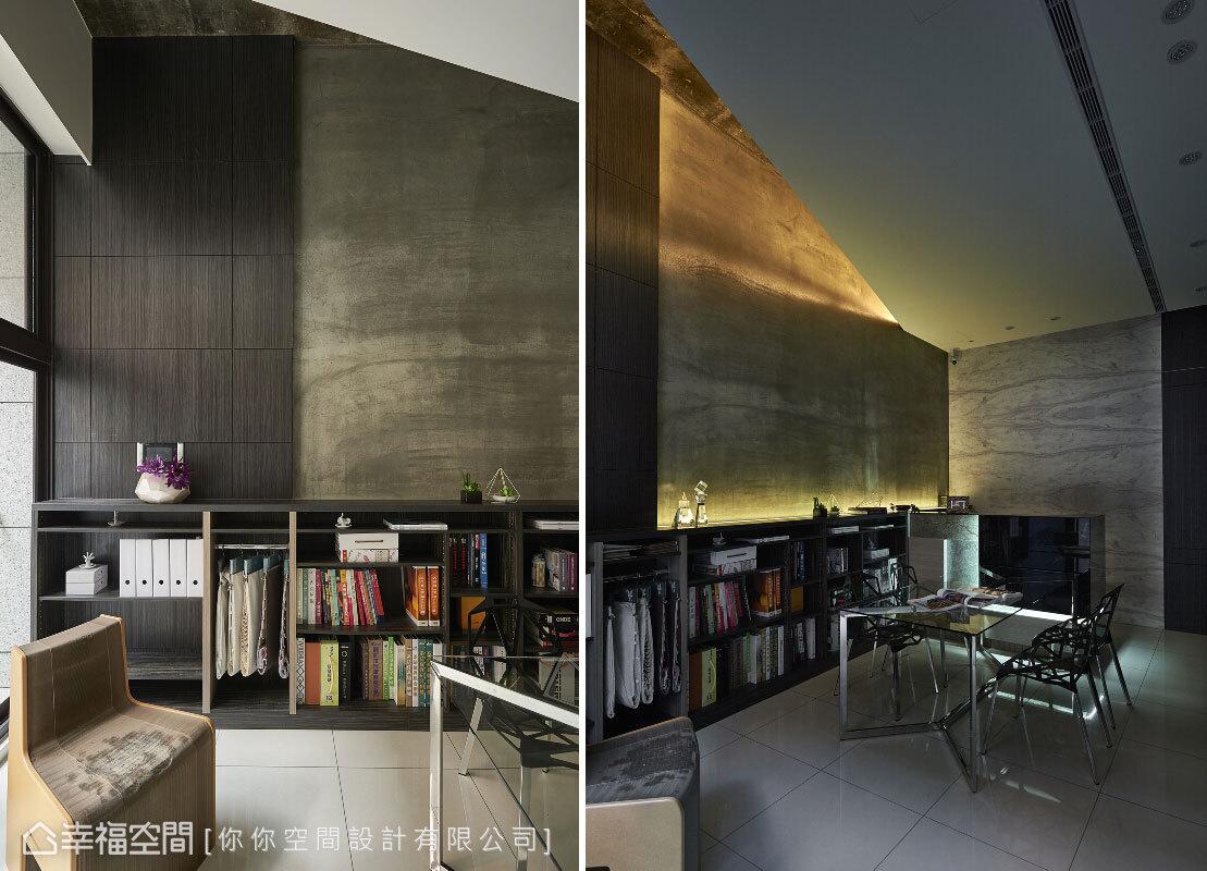 使用木皮與水泥粉光的壁面,結合間接燈光的營造,搭配凸顯挑高設計的斜面天花板,圍塑出水泥都市的現代感。