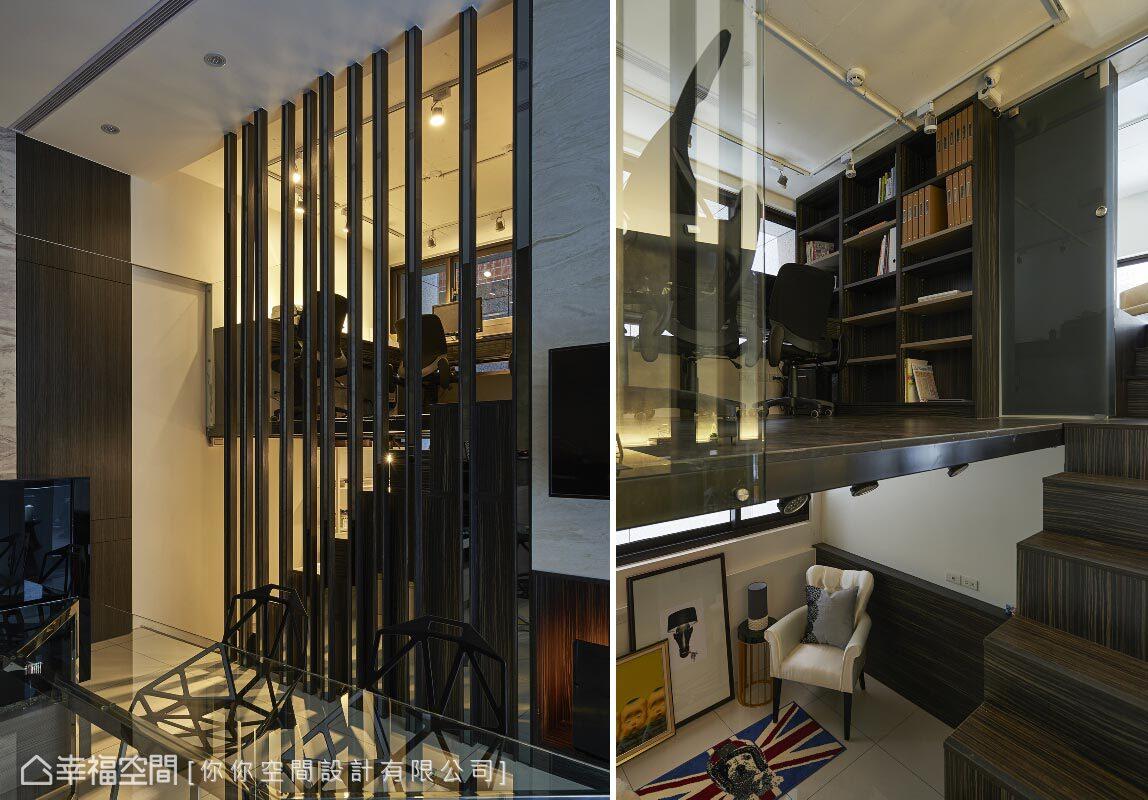 你你空間設計有限公司將影印機與傳真機擺放在樓梯下方的畸零空間,並在此規劃了員工專屬的閱讀休息區。