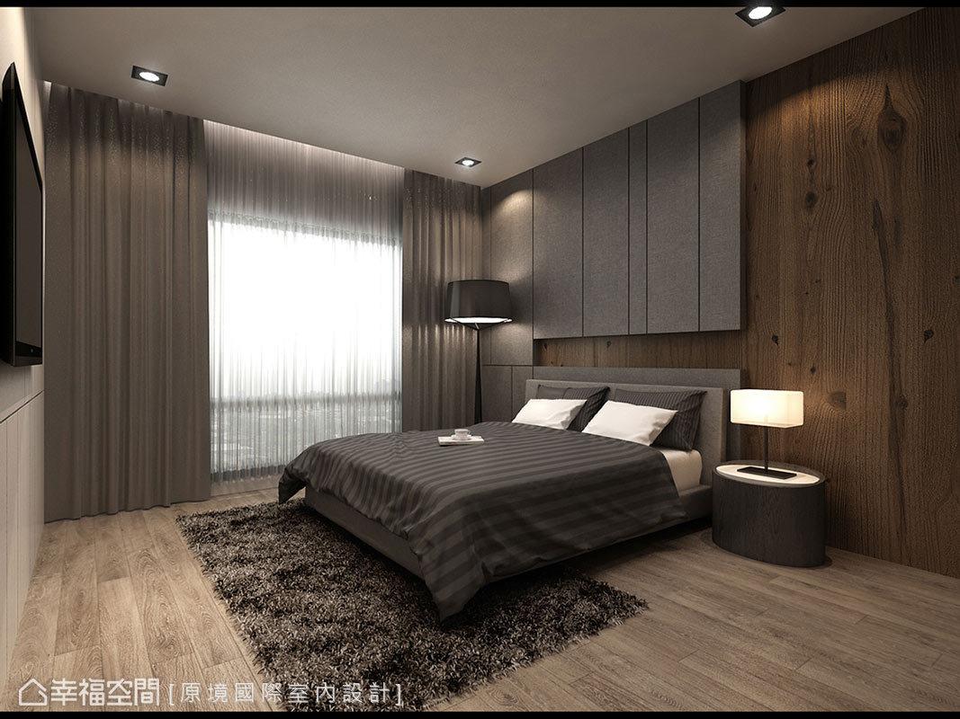 溫潤的木質元素運用在床頭主牆與地坪的表現上,渲染主臥空間的幸福溫度。